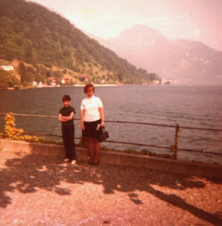 Peter Rance's Wife Thelma, and Son Paul, by Lake Lucerne